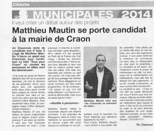 candidature, tous pour craon, matthieu Mautin